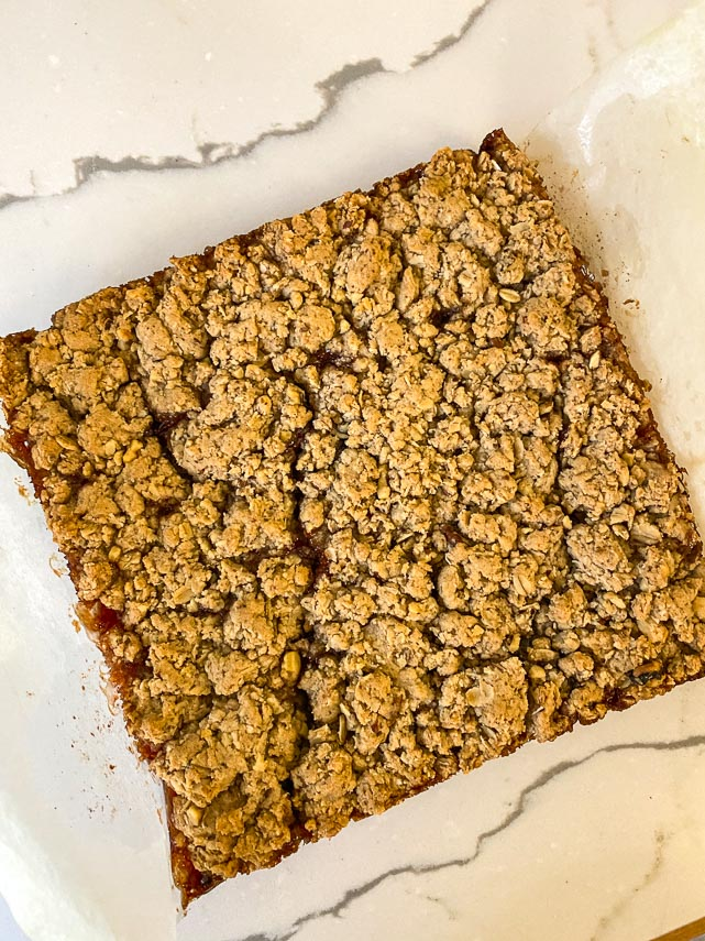 Nutty Low FODMAP Strawberry Oat Bars unmolded and golden brown when done