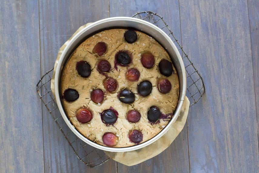 Overhead low FODMAP Focaccia with grapes in pan