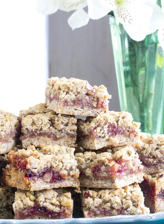 close vertical image for Nutty Low FODMAP Strawberry Oat Bars