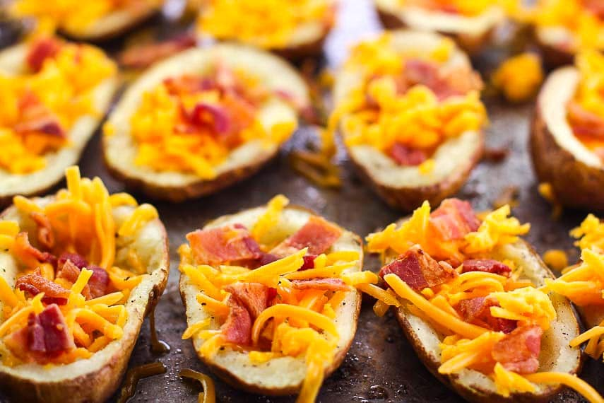 closeup of low FODMAP stuffed potato skins with bacon and cheese