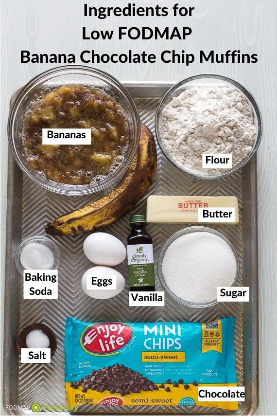 Ingredients for Low FODMAP Banana Chocolate Chip Muffins