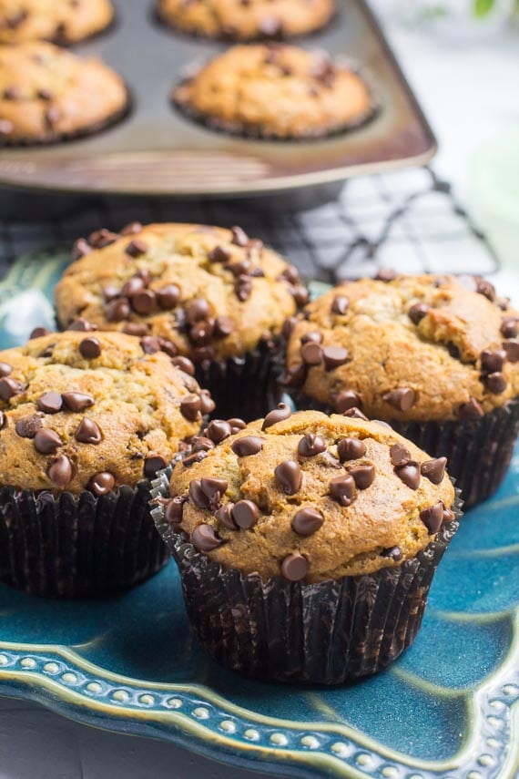 vertical image of baked Low FODMAP Banana Chocolate Chip Muffins
