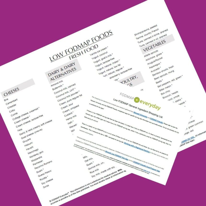 Low FODMAP Food List of what you can eat on the low fodmap diet