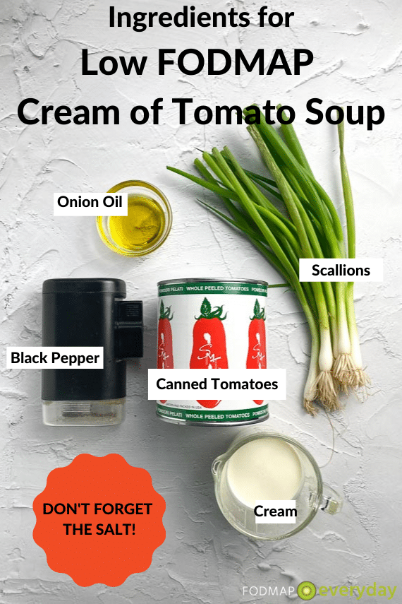 low FODMAP cream of tomato soup ingredients