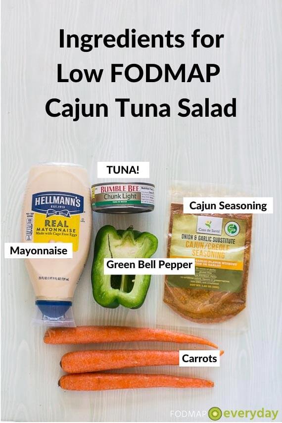 Ingredients for Low FODMAP Cajun Tuna Salad