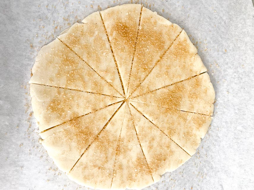 Low FODMAP shortbread dough sprinkled with raw sugar