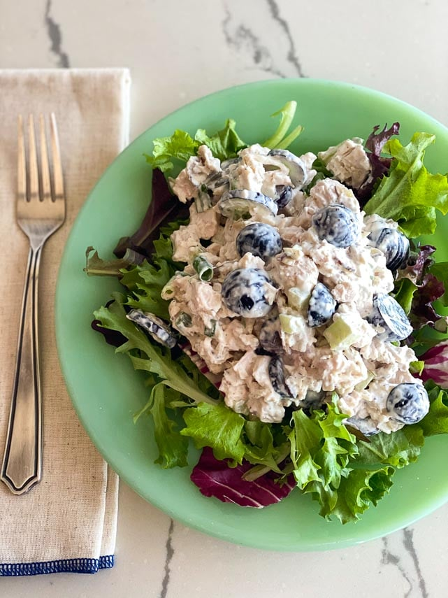 Overhead of Low FODMAP Chicken Salad with Grapes and Almonds on a bed of lettuce on a green plate