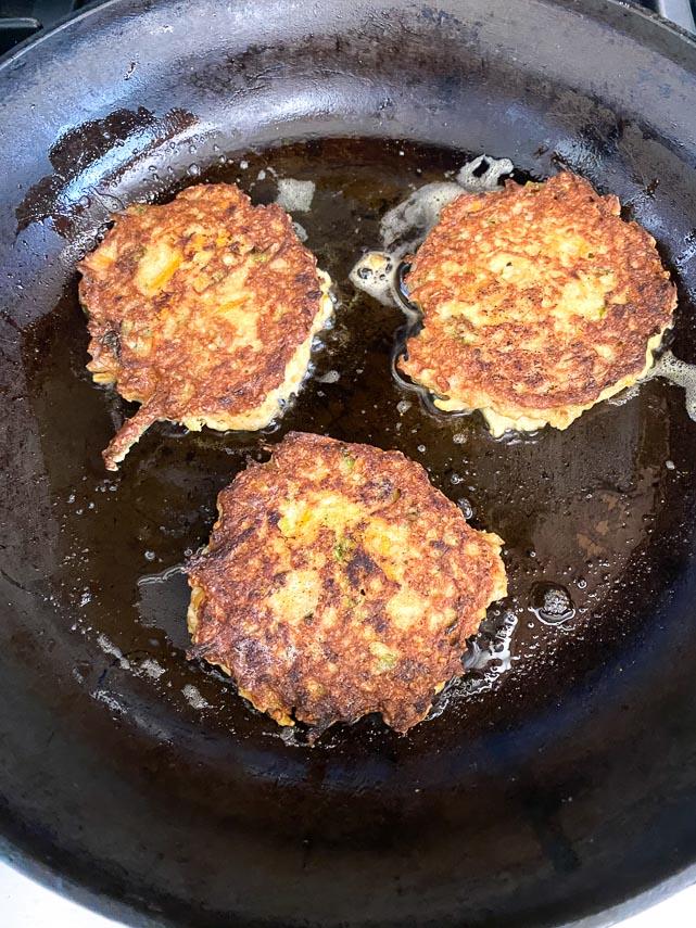 tuna patties frying in pan; fry till golden brown