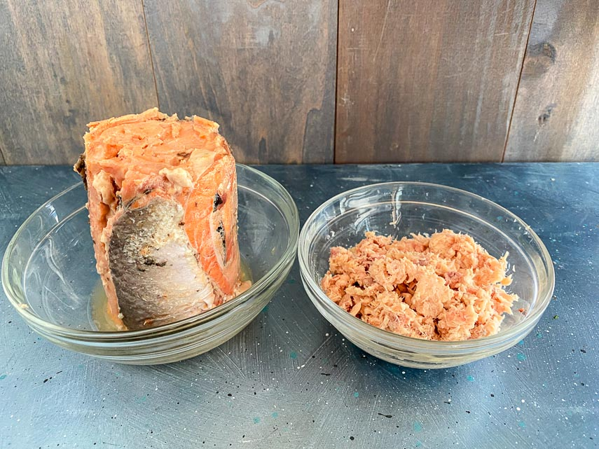 two brands of canned salmon out of the can, compared