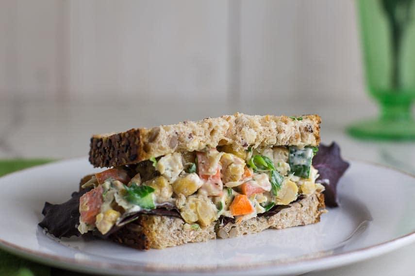 vegan low FODMAP CHICKPEA Salad as a sandwich on LOFO bread