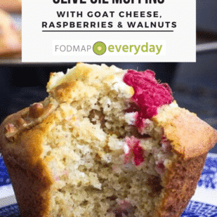 Low FODMAP Olive Oil Muffins with Goat Cheese, Raspberries & Walnuts