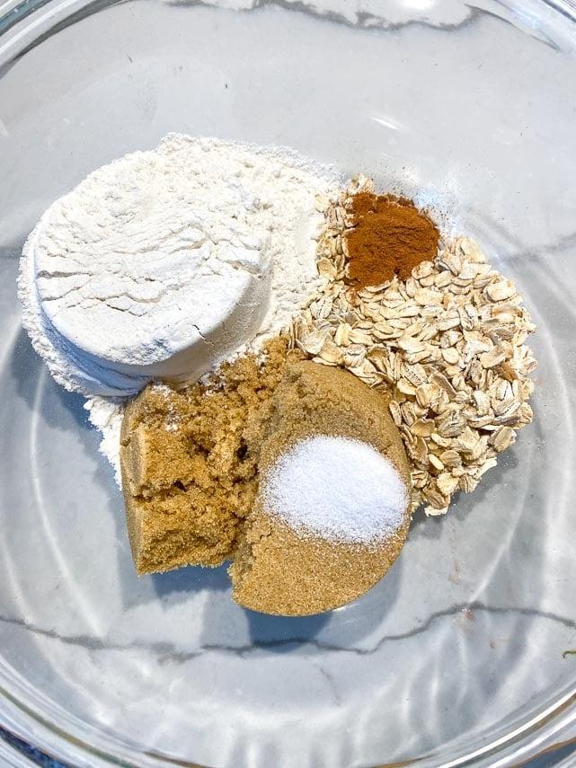 Vegan Low FODMAP Crisp Topping ingredients in a glass bowl