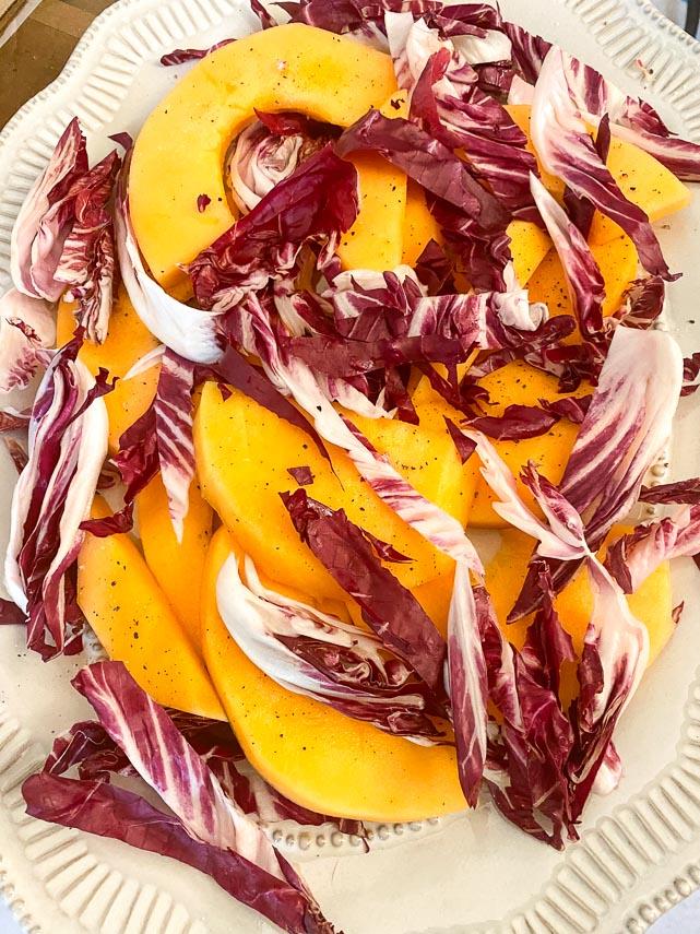 adding radicchio to melon for a salad