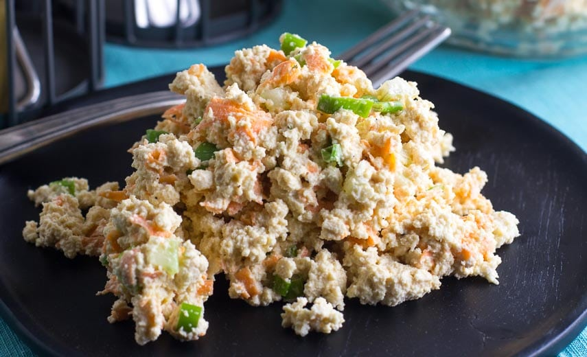 close up of low FODMAP Tofu Salad
