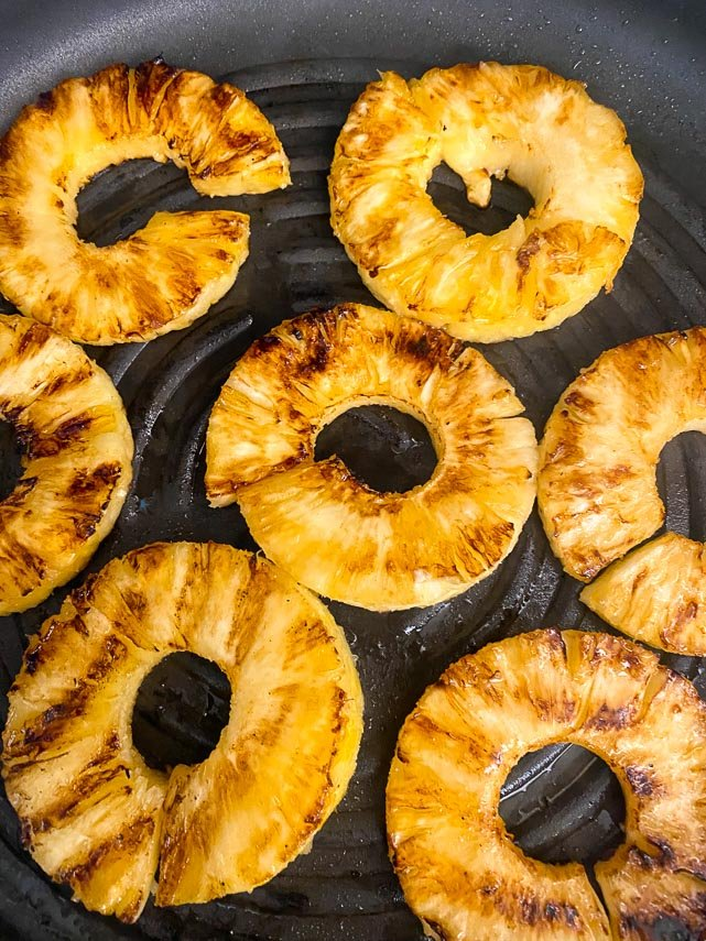 grilling pineapple in a grill pan