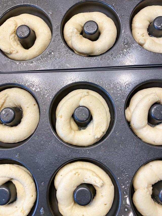 low FODMAP Baked Doughnuts ready to bake, in doughnut pans