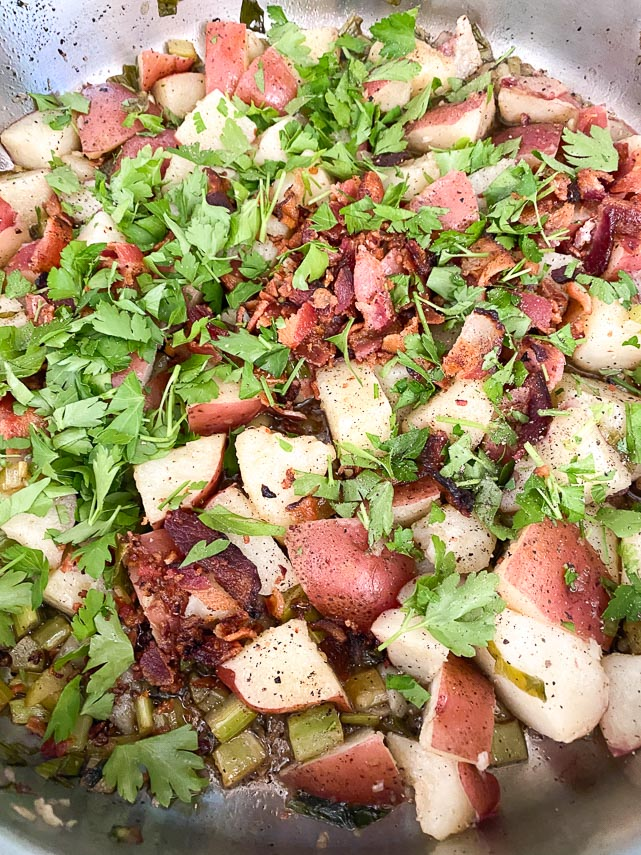 use lots of parsley for your hot potato salad with bacon