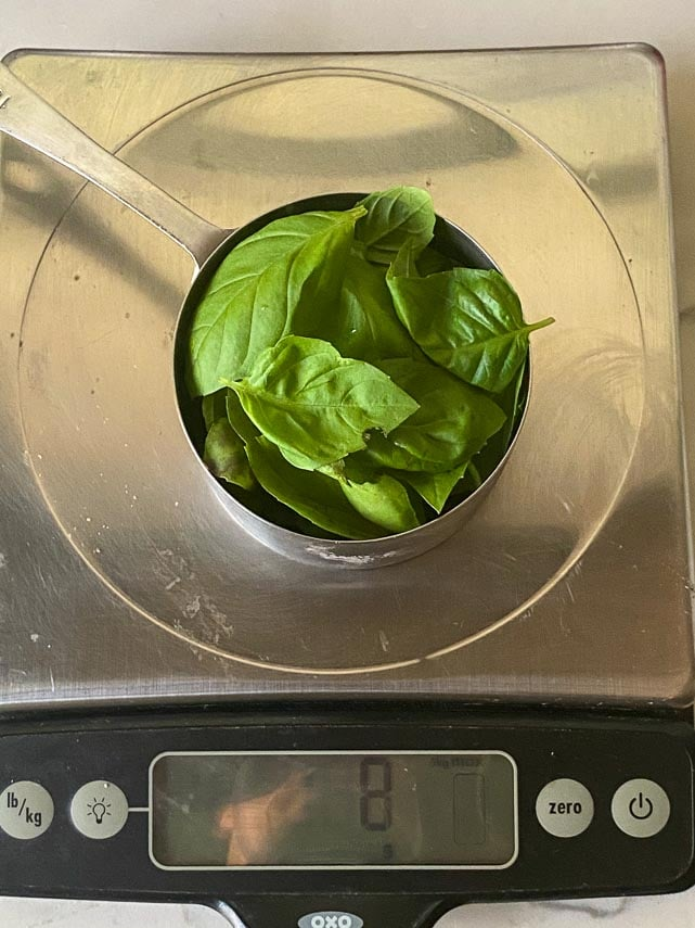 1 cup lightly packed basil leaves on scale showing 8 g weight