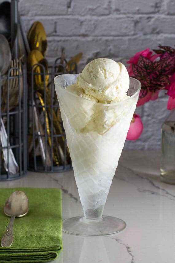 Low FODMAP No Churn Vanilla Ice cream in a clear glass cone shaped dish