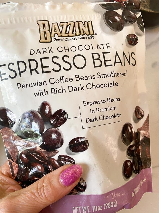 bag of chocolate covered espresso beans