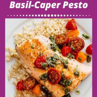 salmon dish with basil-caper pesto