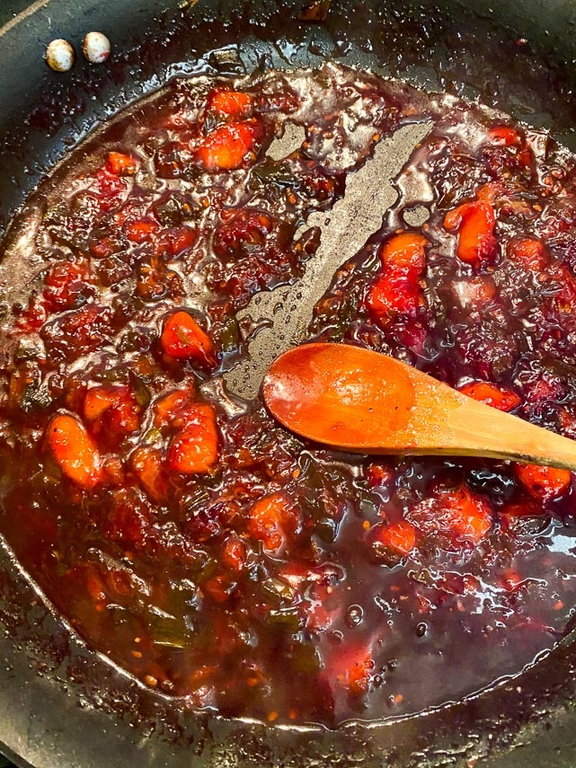 cook chutney until it is thick enough to leave an open trail on the bottom of the pan