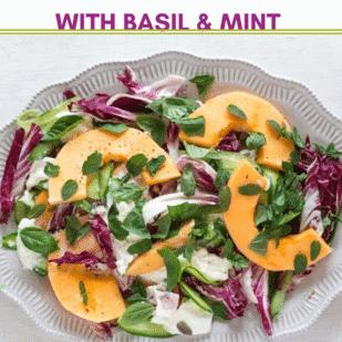 Low FODMAP Cantaloupe, Cucumber and Burrata Salad with Basil & Mint