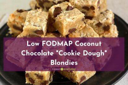 Low FODMAP Coconut Chocolate Cookie Dough Blondies in a pile, closeup