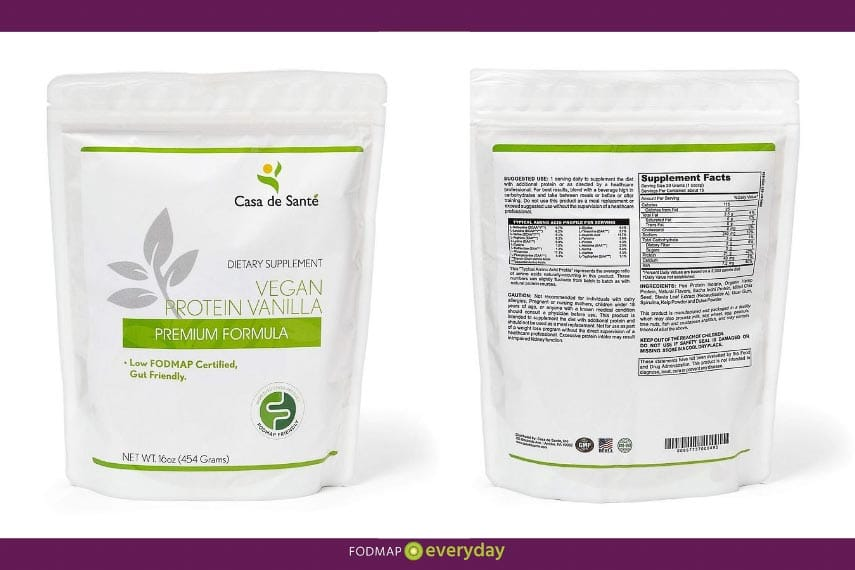Casa de Sante Vegan protein Package, front and back
