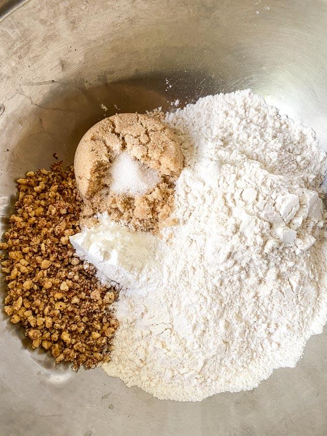ingredients for hazelnut shortcake in mixing bowl_