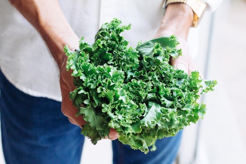 curly kale bunch held in man's hands