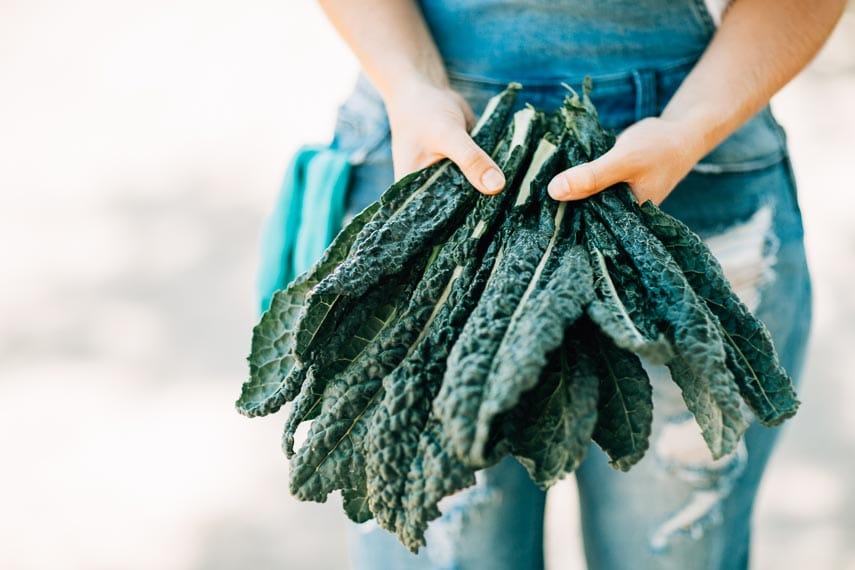 woman holding bunch of lacinato kale