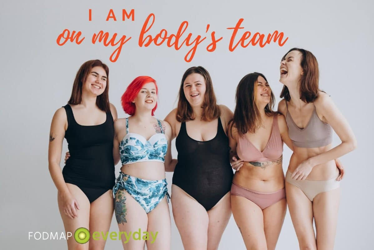 5 women in bathing suits of various body types standing with their arms around each other - I am on my body's team