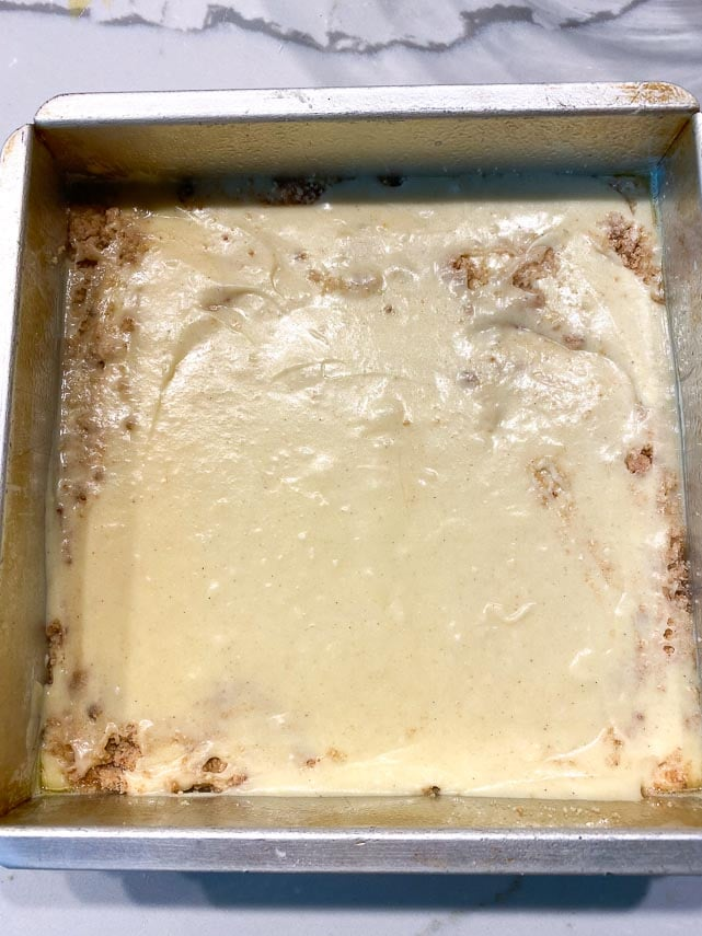 cake batter in a square pan
