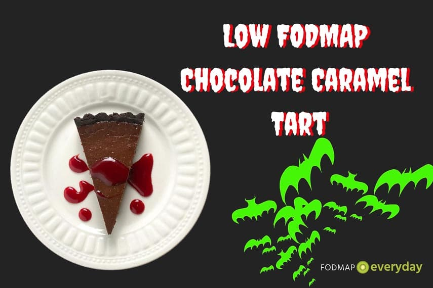 low FODMAP chocolate caramel tart image for Halloween