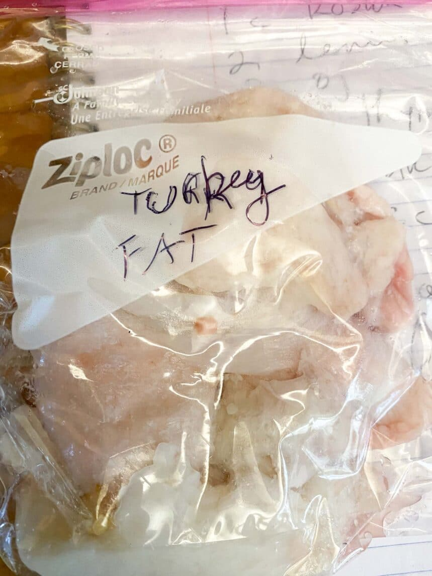 Turkey fat in bag ready to freeze