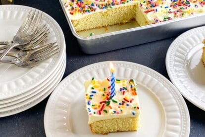 yellow-snack-cake-with-buttercream-rainbow-sprinkles-and-blue-candle-on-white-plate-1