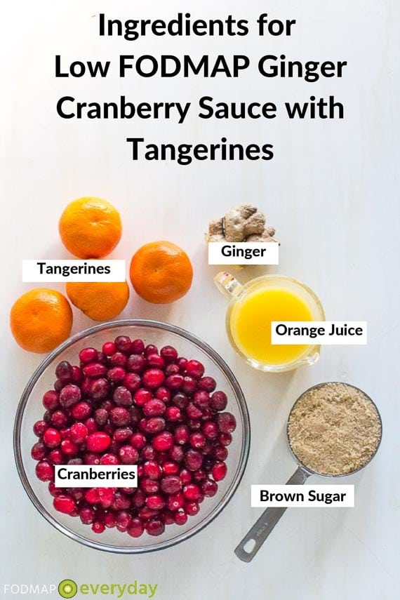 Ingredients for cranberry ginger tangerine sauce