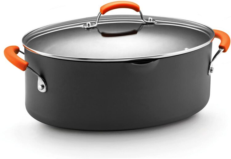 Rachel Ray Hard Anodized Nonstick 8-Quart Oval Pasta Pot with Glass Lid