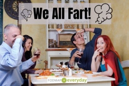 Feature Image for We All Fart Article - 4 people at a table, one person farted and the others are holding their nose.