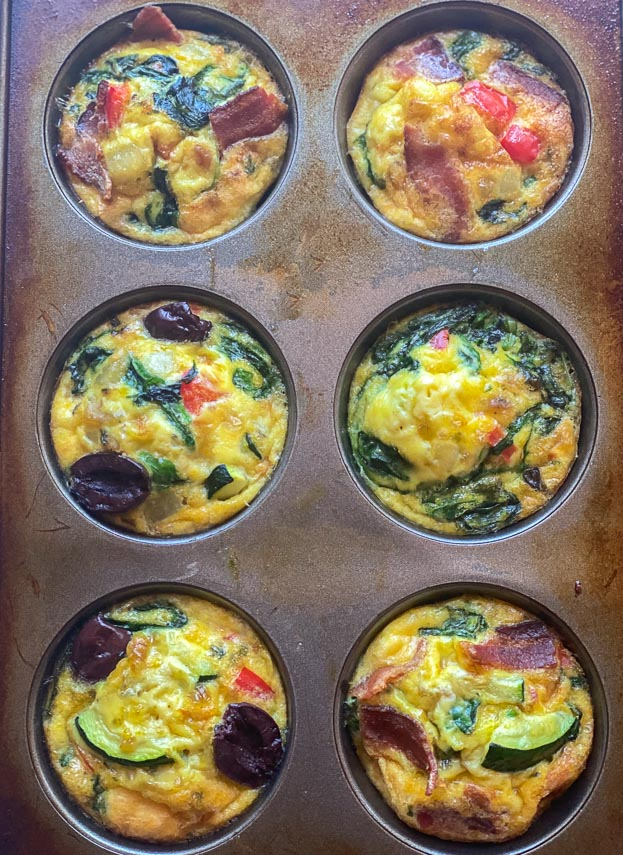 cooked mini frittatas in muffin tins