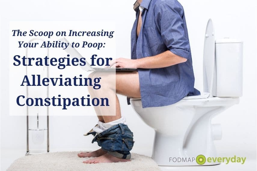 Side view of a white man sitting on a toilet with his pants around his ankles working on a laptop. Title: Strategies for Alleviating Constipation