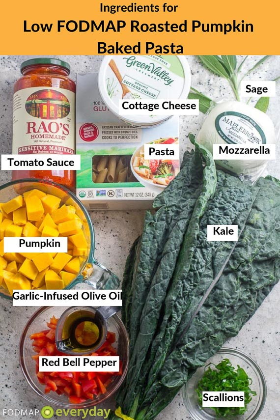 low FODMAP Roasted Pumpkin Baked Pasta Ingredients