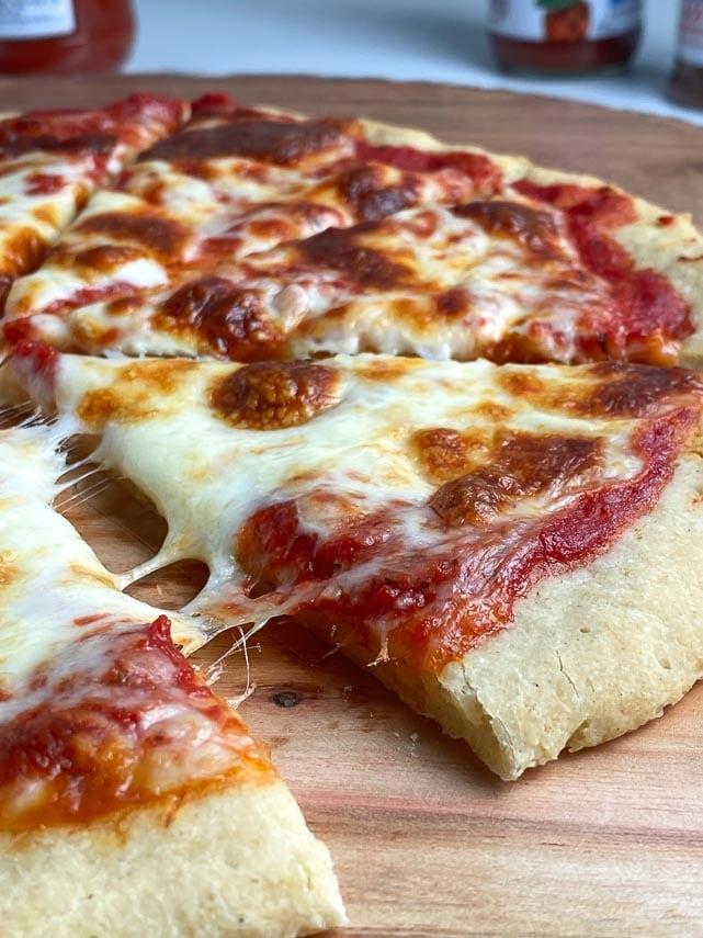 close up of pizza crust