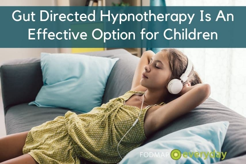 A young girl relaxing with headphones on as an example of a child using gut directed hypnotherapy for IBS.