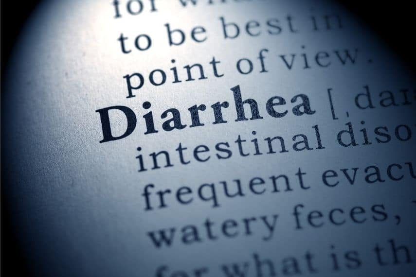 close up of the word diarrhea in a dictionary
