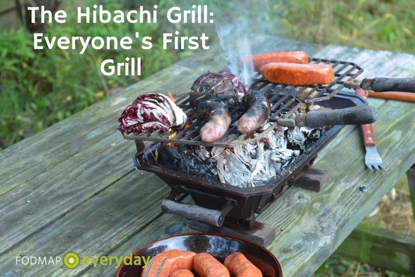 Hibachi grill with vegetables and meat grilling