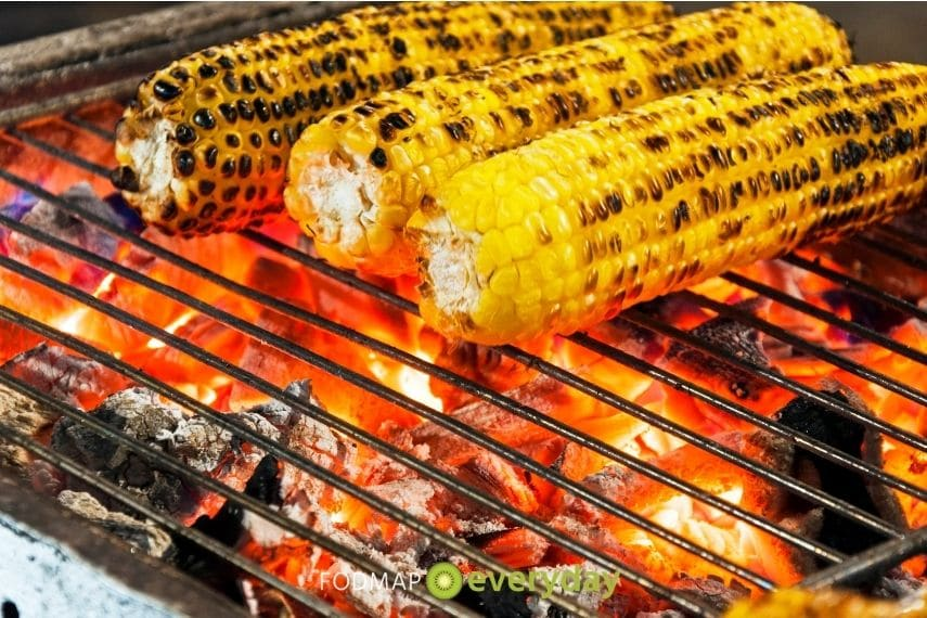 corn grilling on a charcoal grill