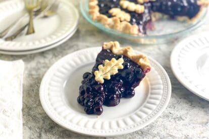 horizontal image of low FODMAP Fresh Blueberry Pie on white gray quartz and white plate 1