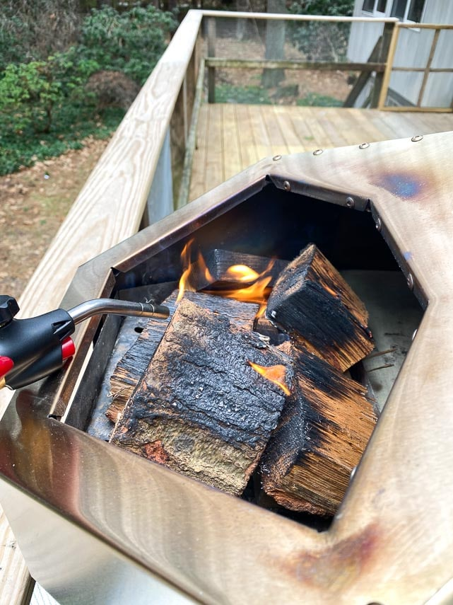 lighting wood in Ooni Pro pizza oven